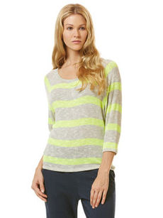 vivid stripe ¾ sleeve loose knit raglan top