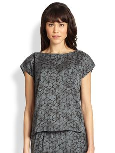Eileen Fisher Mosaic-Print Silk/Cotton Top