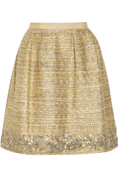 Oscar de la Renta Embellished metallic bouclé-tweed skirt