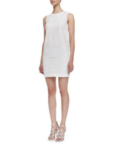 Sleeveless Eyelet Sheath Dress, White   Sleeveless Eyelet Sheath Dress, White