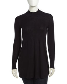 Isda & Co Long-Sleeve Stretch Flare Top, Deep Sea