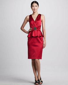 David Meister Satin Peplum Cocktail Dress