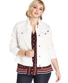 Lucky Brand Plus Size Denim Jacket, Alabaster Wash