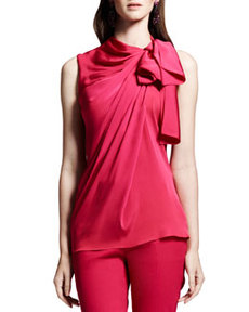 Lanvin Tie-Neck Sleeveless Blouse, Pink