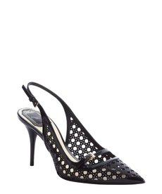Christian Dior black leather cannage pointed toe singleback pumps