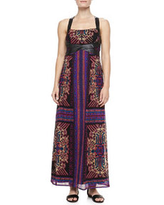 Nanette Lepore Sun Dance Leather-Trim Maxi Dress