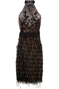 Alberta Ferretti Feather and bead-embellished mesh dress