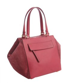 Fendi black cherry leather and suede magnetic top satchel