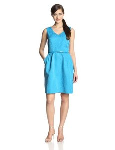 Ellen Tracy Women's Sleeveless V-Neck Belted Dress