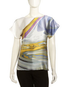 Lafayette 148 New York Hayworth Marble-Print Blouse, Spectrum