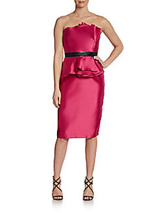 Carmen Marc Valvo Gathered-Peplum Sateen Dress