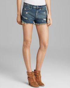 Free People Shorts - Distressed Dolphin Hem in Eagle Wash