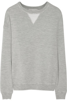 Jason Wu Silk satin-paneled wool-jersey sweatshirt