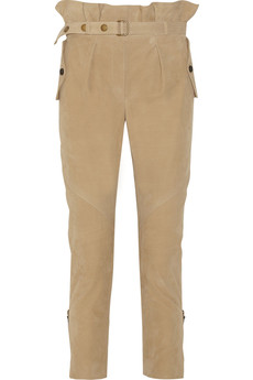 Burberry Prorsum Belted nubuck leather pants
