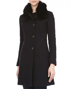 Andrew Marc Posh Luxe Honeycomb Textured Coat, Black