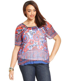 Lucky Brand Plus Size Short-Sleeve Floral-Print Top