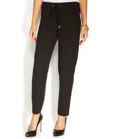 Ellen Tracy Slim-Leg Drawstring Pants
