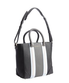 Givenchy charcoal and light blue striped leather convertible tote