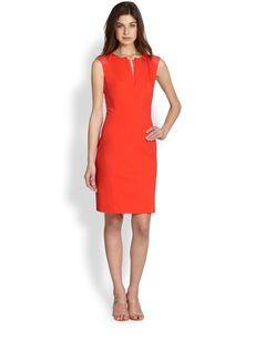 Lafayette 148 New York Zelina Contrast-Detail Dress