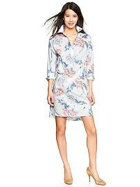 Floral drawstring shirtdress