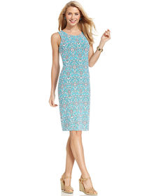 Charter Club Sleeveless Damask-Print Shift Dress