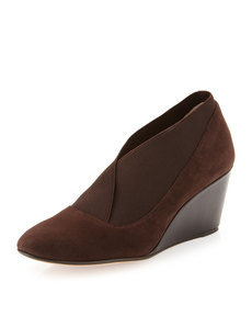 Taryn Rose Kelly Wide-Gore Suede Wedge, Brown