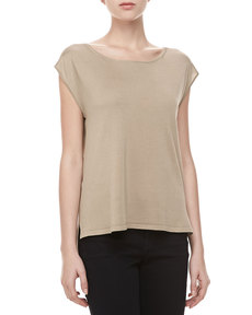 Michael Kors Silk High-Low Top, Hemp