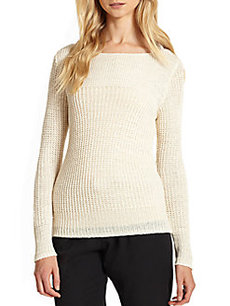 Joie Shantal Open-Knit Linen Sweater
