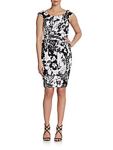 Carmen Marc Valvo Floral-Print Tulip Dress