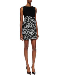 Solid-Bodice Logo Net-Skirt Minidress, Black/White   Solid-Bodice Logo Net-Skirt Minidress, Black/White