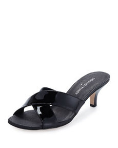 Donald J Pliner Raku Crossed Patent Leather Sandal, Black