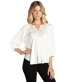 Rebecca Taylor white mirrored tiles three quarter sleeve blouse