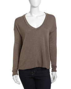 James Perse Boxy V-Neck Top, Burro