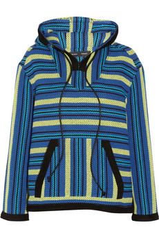Proenza Schouler Baja suede-trimmed striped tweed sweater