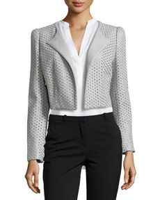 Escada Briddi Eyelet Crop Jacket, Gray