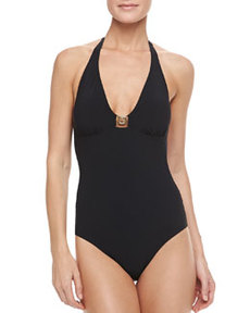 Tory Burch Logo Halter One-Piece Swimsuit
