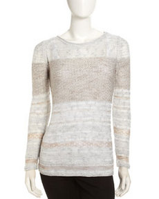 Lafayette 148 New York Iridescent Shantung Sweater, Toffee Melange