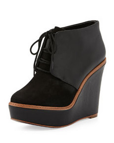 Kooba Nora Suede/Leather Wedge Bootie, Black