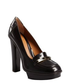 Fendi burnished brown leather logo platform loafers