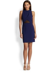 ABS Mesh-Inset Sheath Dress