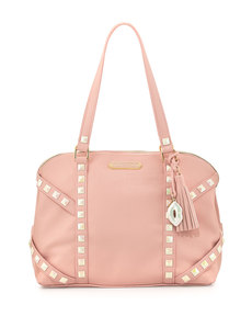Betsey Johnson Iridescent Studded Dome Satchel Bag, Blush