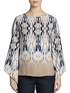 Ellen Tracy Ikat-Print Top
