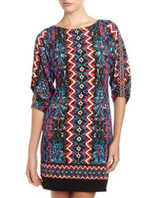 Laundry by Shelli Segal Double Diamond-Print Jersey Dress