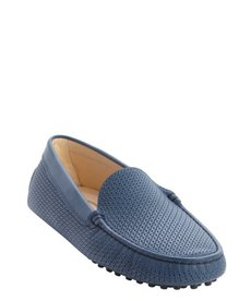 Tod's blue perforated leather loafers