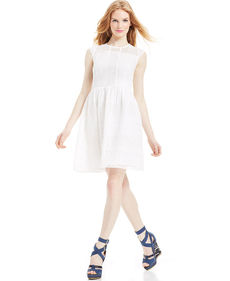 Betsey Johnson Cap-Sleeve Eyelet Lace Dress