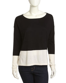 French Connection Colorblock Slouchy Sweater, Black/Cream
