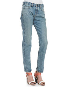 Marilyn Distressed Contrast-Stitching Jeans   Marilyn Distressed Contrast-Stitching Jeans