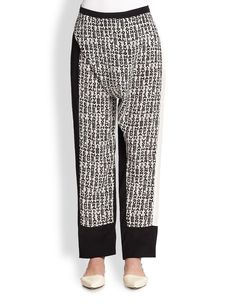 Costume National Typography Print Silk Pants