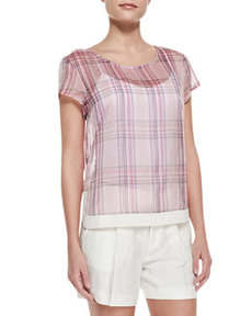 J Brand Ready to Wear Rhea Sheer Plaid Chiffon Blouse