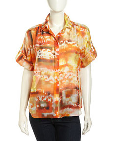 Lafayette 148 New York Sheena Abstract Print Silk Blend Blouse, Mandarin